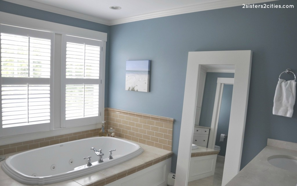 Master bathroom paint color reveal jamestown blue 2 for What paint is best for bathrooms