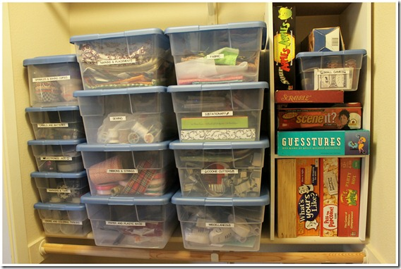 Closet Organization for Crafts