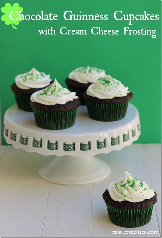Chocolate Guinness Cupcakes filled with ganache and topped with Cream Cheese Frosting