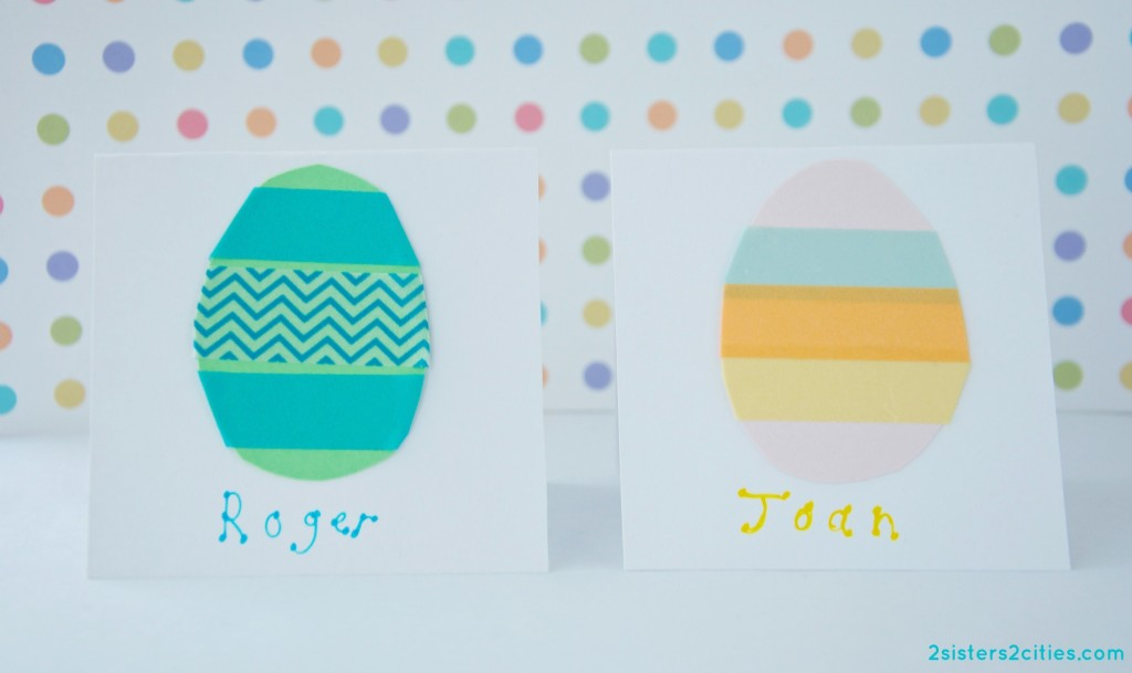 washi tape egg place cards