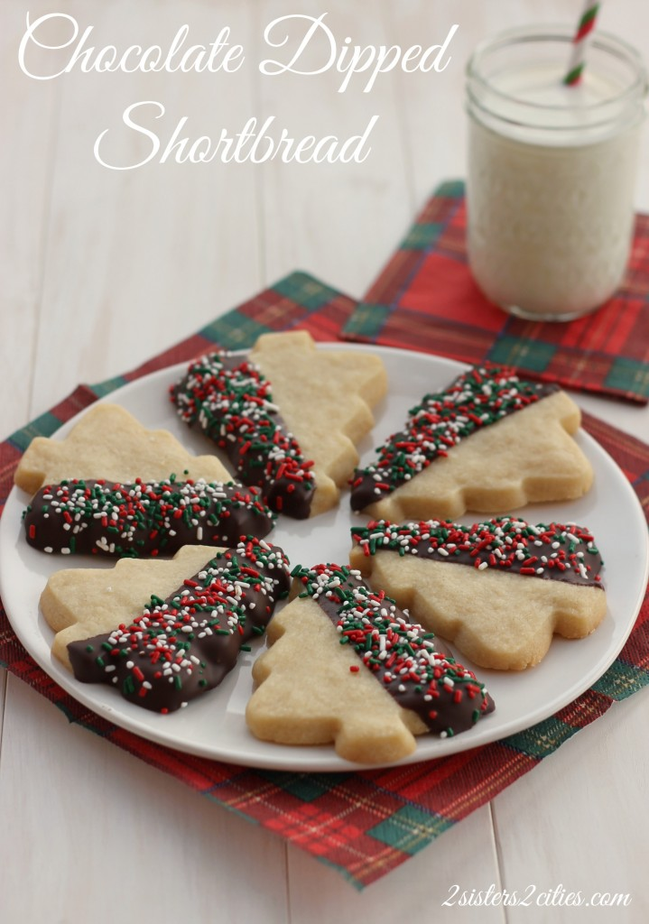 6 Chocolate Dipped Shortbread Cutouts